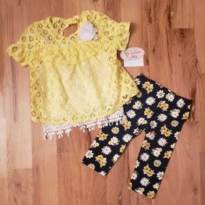 NWT Little Lass Baby 3 PC Lace Top Set